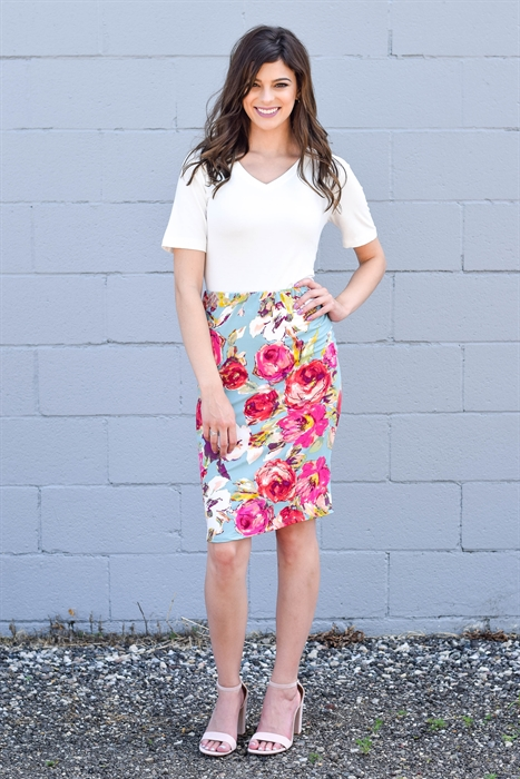 Picture of New Bright Floral Pencil Skirt