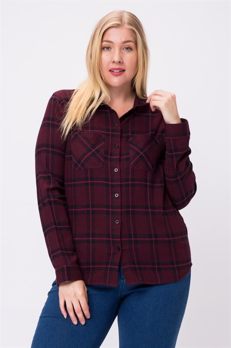 Picture of Curvy Plaid Button Down