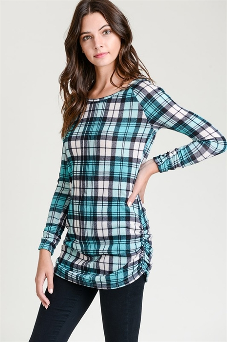 Picture of Ruched Mint Plaid Tunic