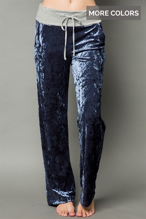 Picture of Crushed Velvet Casual Pants