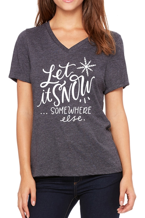 Picture of Snow Somewhere Else Graphic V-Neck Tee