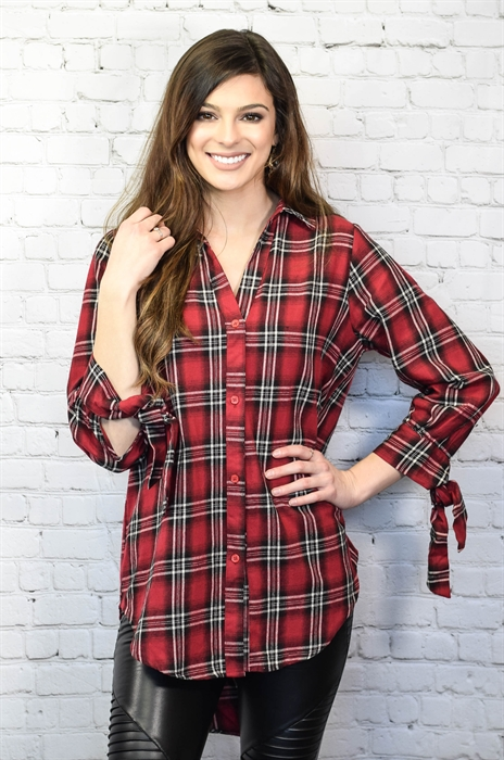 Picture of Red Tie Sleeve Plaid Button Up
