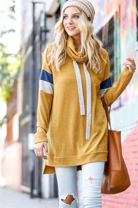 Picture of Striped Sleeve Cowl Neck Top