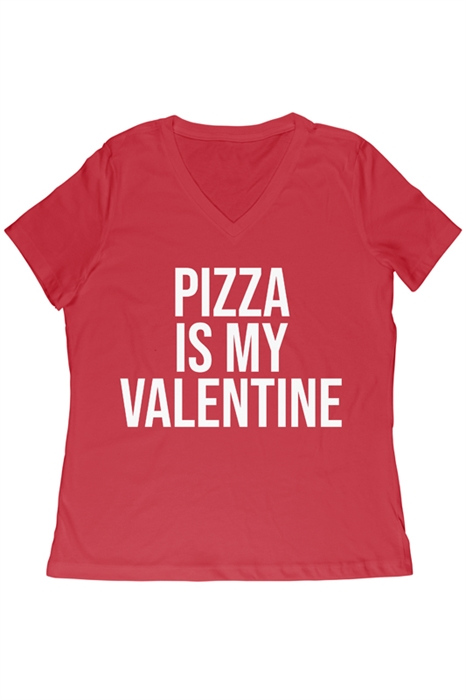 Picture of Pizza is My Valentine Relaxed V-Neck Graphic Tee
