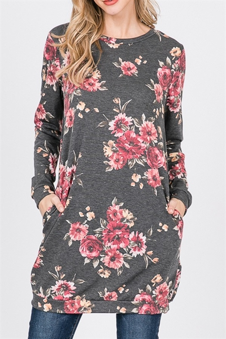 Picture of Charcoal Floral Tunic