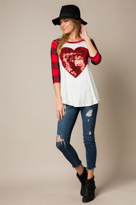 Picture of Cross My Heart Sequin Buffalo Plaid Top