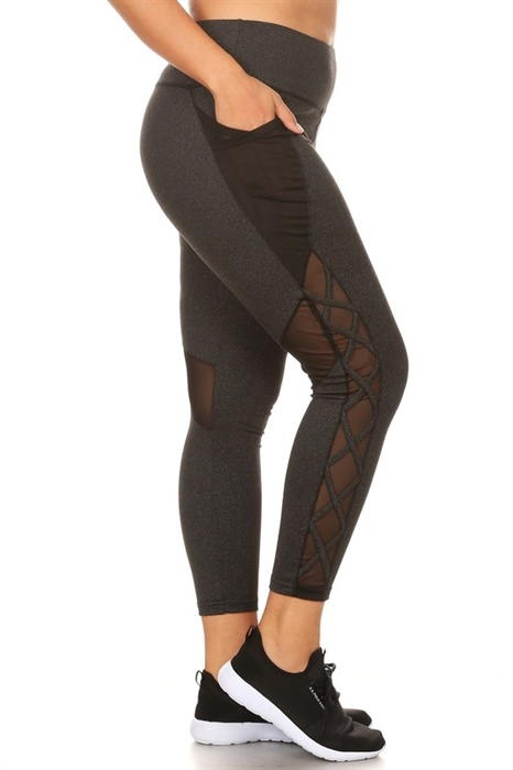 Picture of HP Active Curvy Criss Cross Mesh Panel Pocket Leggings