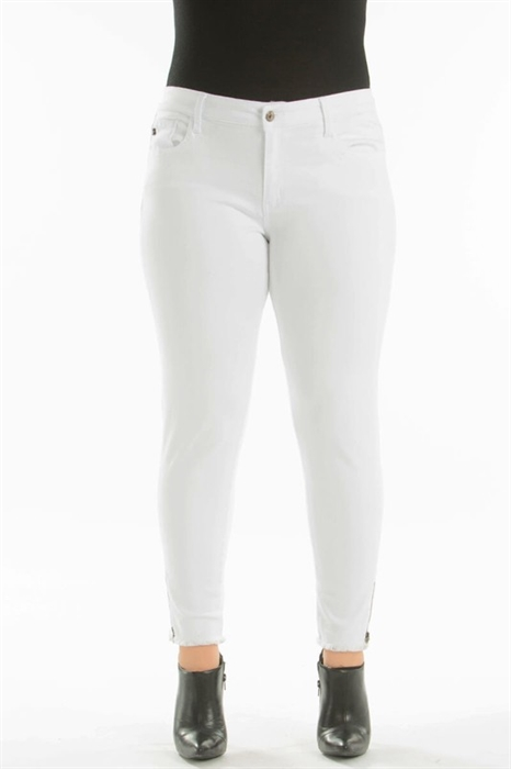 Picture of Premium Curvy White Zip Bottom Jeans