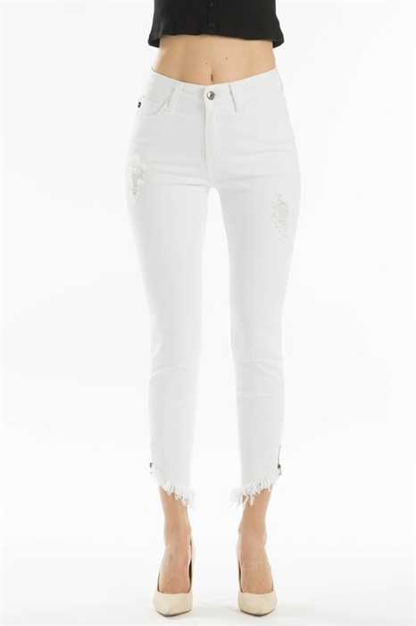 Picture of Premium White Frayed Bottom Jeans