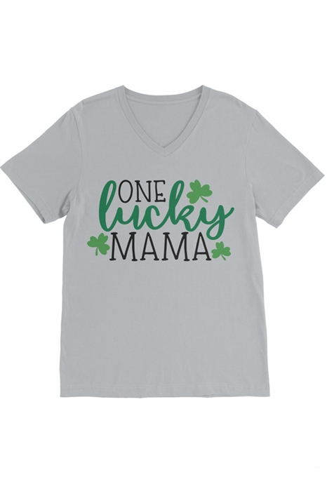 Picture of One Lucky Mama V-Neck Graphic Tee