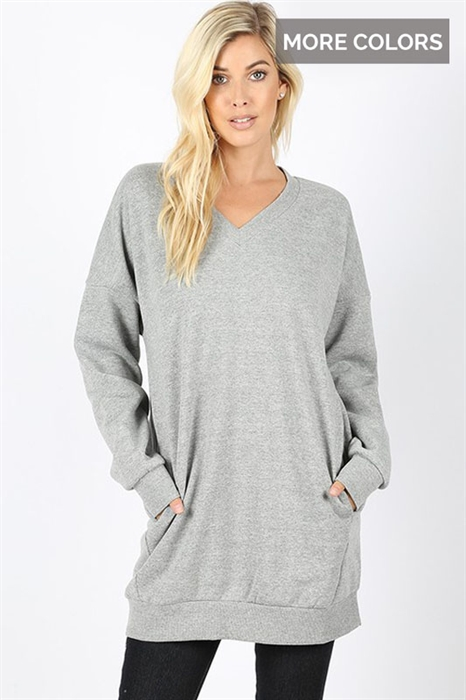 Picture of Basic Oversized V Neck Sweatshirt