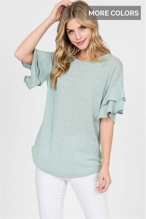 Picture of Curvy Brinley Flutter Sleeve Top