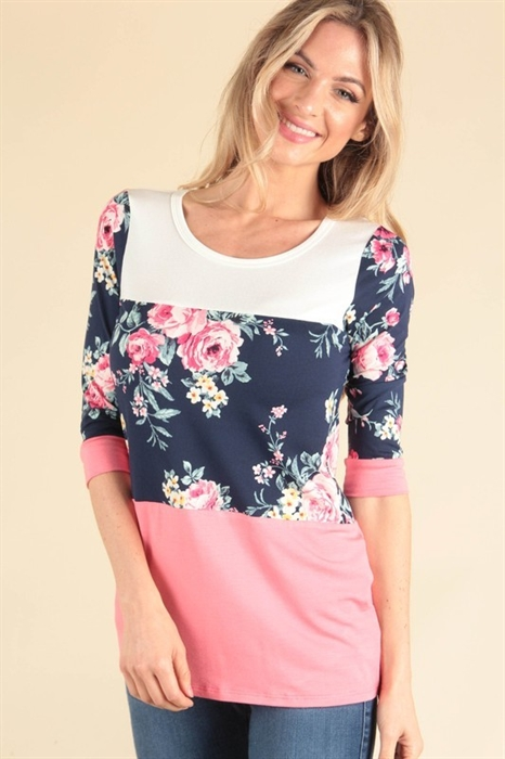 Picture of Marie Colorblock Floral Top