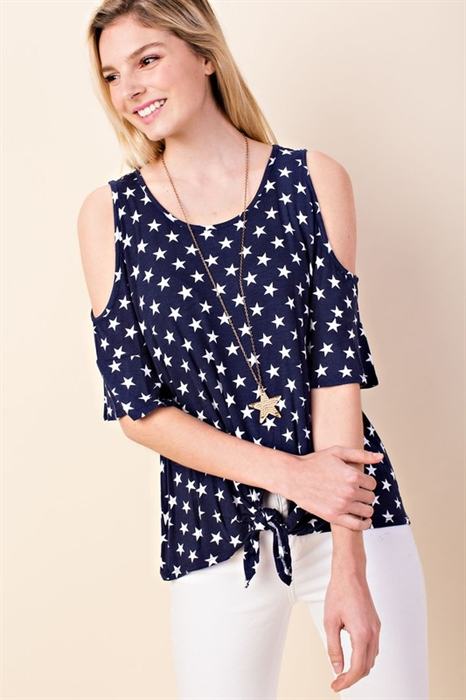 Picture of Curvy Starry Cold Shoulder Top