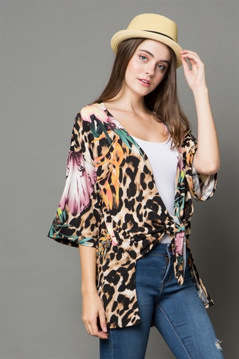 Picture of Purple Floral Cheetah Cardigan