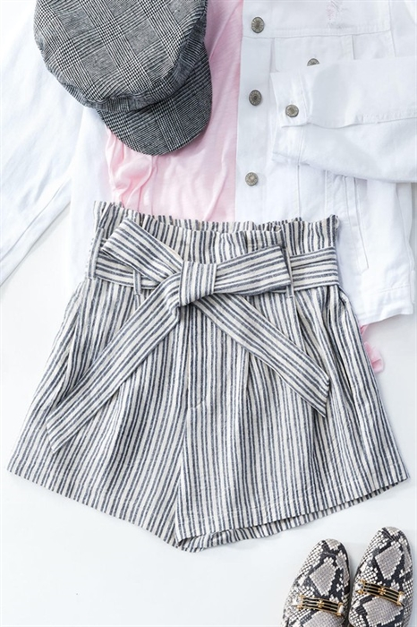 Picture of Striped Cotton Ribbon Belt Shorts