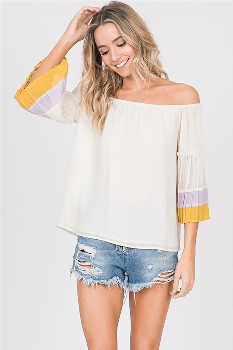 Picture of Off The Shoulder Belle Sleeve Top