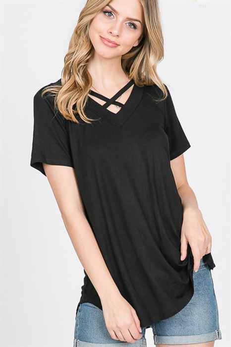 Picture of Curvy Criss Cross Basic Top