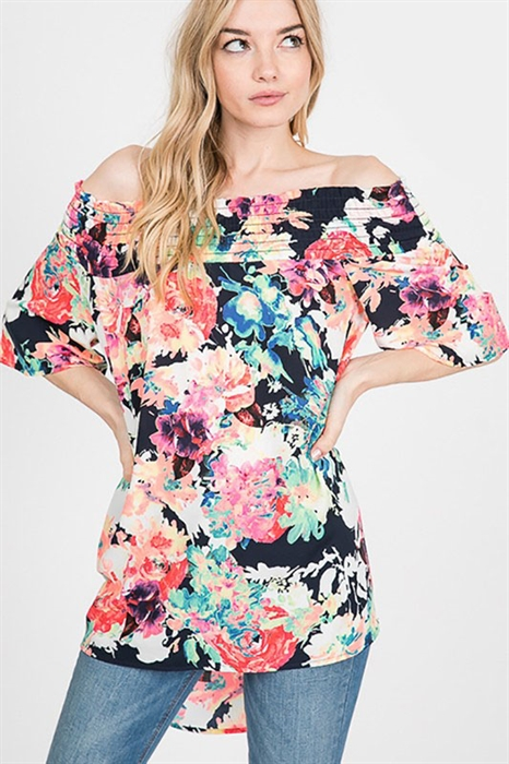 Picture of Curvy Off the Shoulder Floral Top