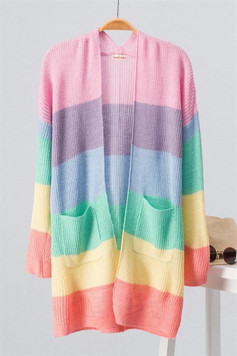 Picture of Pink Multi Colorblock Spring Cardi