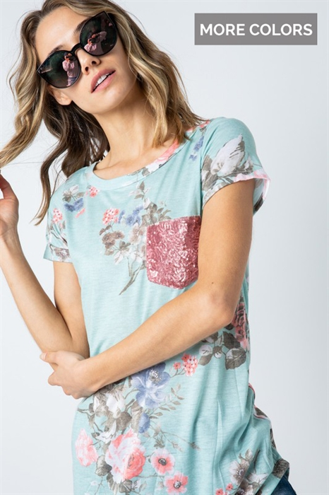 Picture of Rosey Sequin Pocket Top