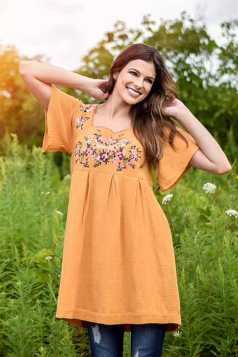 Picture of Livie Mustard Embroidered Tunic Dress