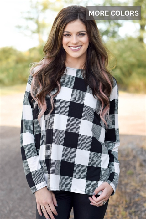 Picture of Skylar Plaid Cross Back Top
