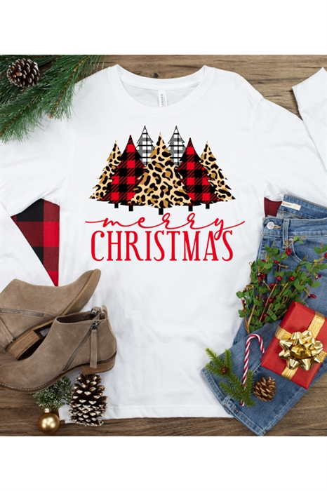 Picture of Leopard & Plaid Christmas LS Graphic Tee