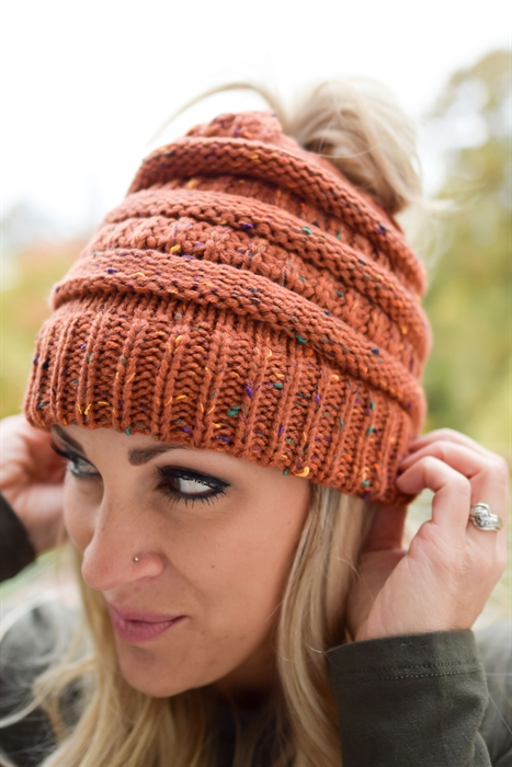 Picture of Autumn Leaves Ponytail Beanie