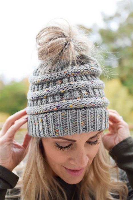 Picture of Shades of Grey Ponytail Beanie